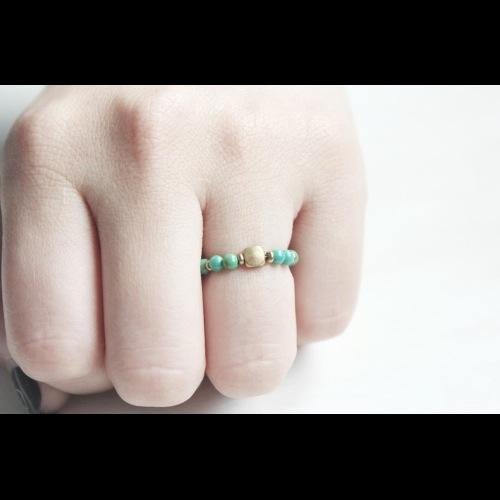 Turoquoise土耳其石經典天然石彈性戒指