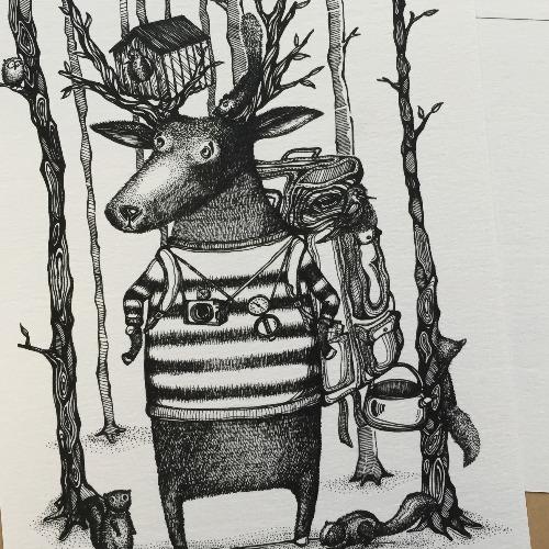 迷失森林  明信片畫作