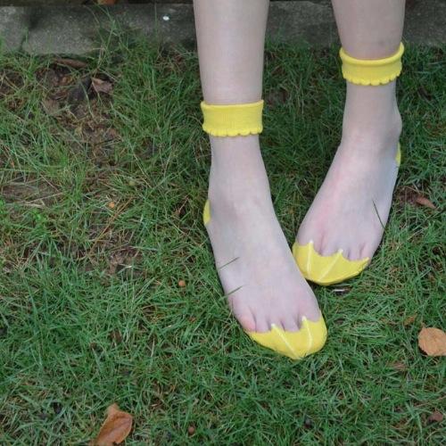 Yellow Umbrella Sheer Socks