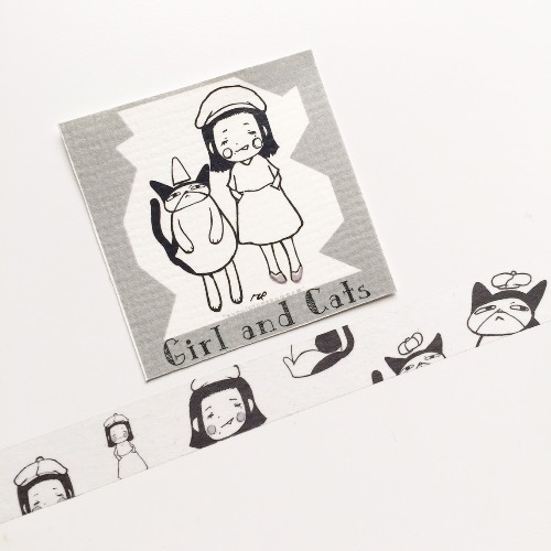 Girl and cats 紙膠帶