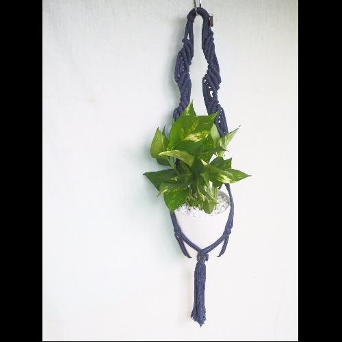 【生活小風景•手工編織植物吊籃•深藍色系•斜紋編織花紋】