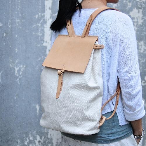 簡約皮革後背帆布包 雙肩包 背包 旅行包