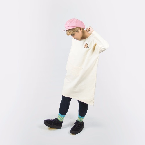 純棉牛津長洋裝 / 黃色雞腿雞