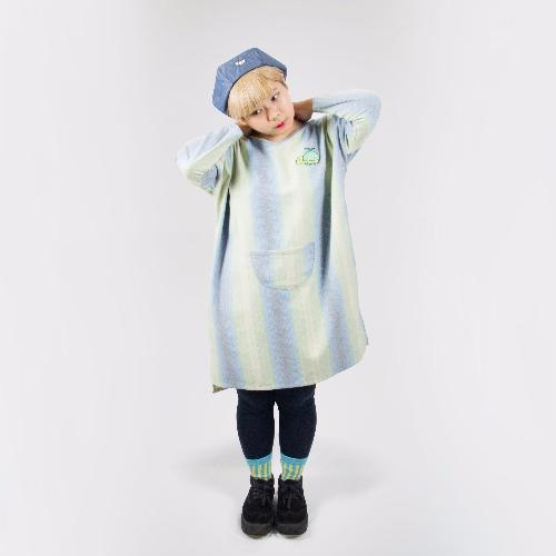 純棉條紋長洋裝 / 藍綠哈蜜龜