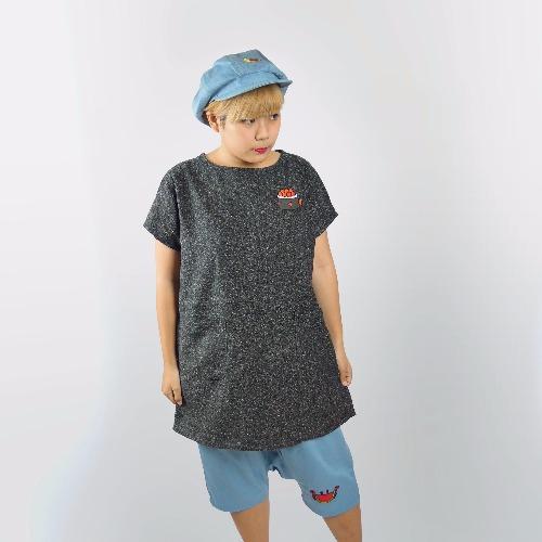 寬鬆短袖上衣 / 灰色壽司魚