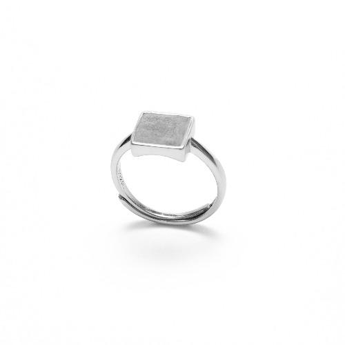 灰水泥正方形銀指環/戒指(銀) - 幾何系列