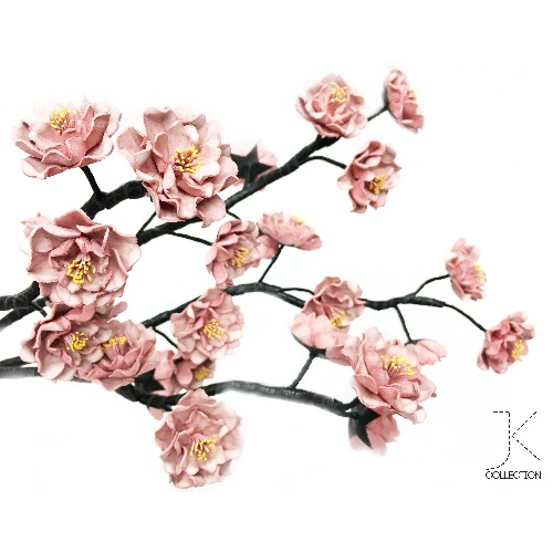 櫻吹雪系列: 霜降粉紅皮革櫻花