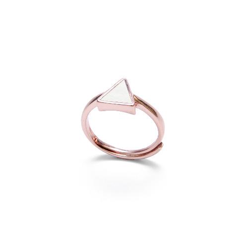白水泥三角形銀指環/戒指(玫瑰金) - 幾何系列