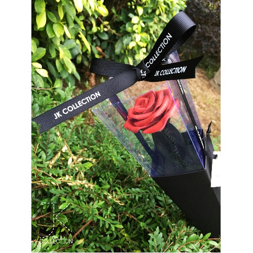 皮革玫瑰單枝禮盒