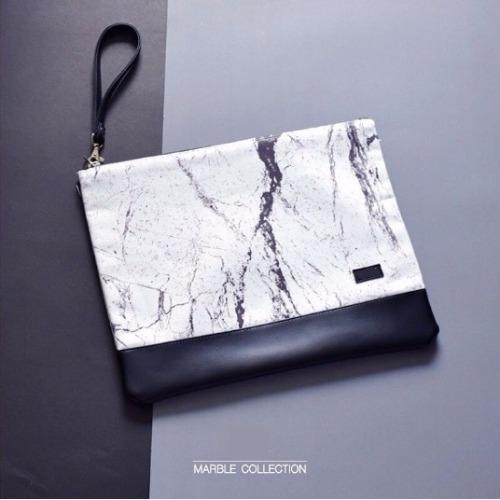 White-black marble A4 clutch