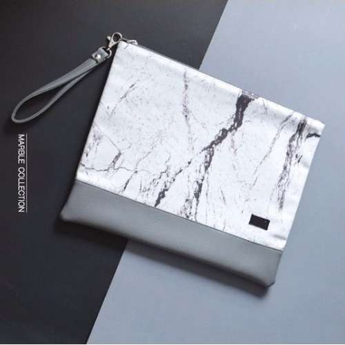 White-Gray marble A4 clutch