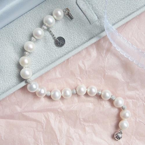 經典天然白【圓形珍珠】純銀手鍊