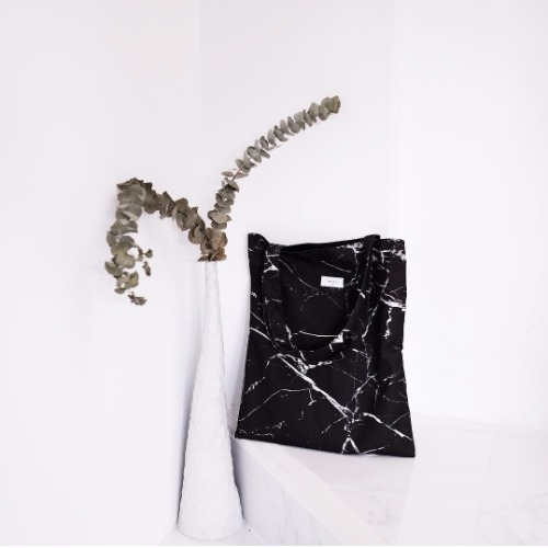 Black marble canvas bag