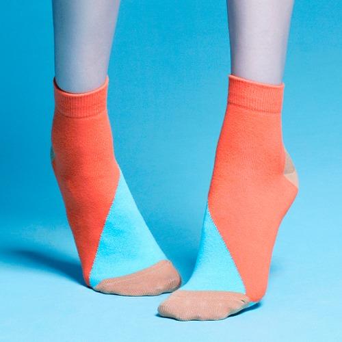 棉襪-女生襪子-簡約襪子- 橘色粉藍短襪