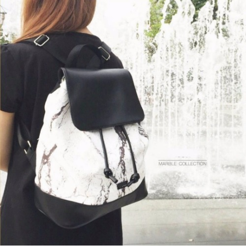 White-Black marble backpack bag