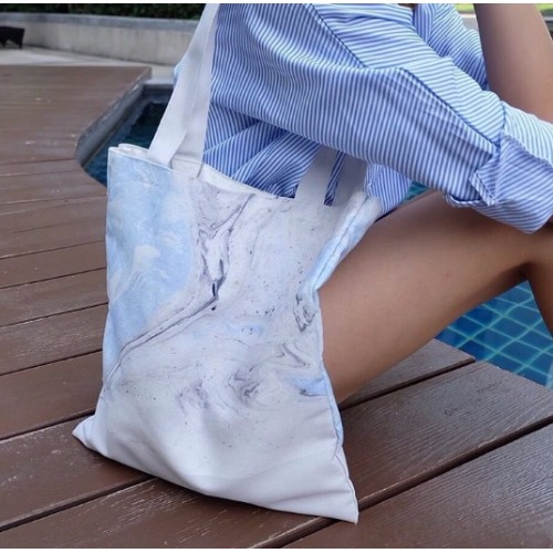 Baby blue marble canvas bag