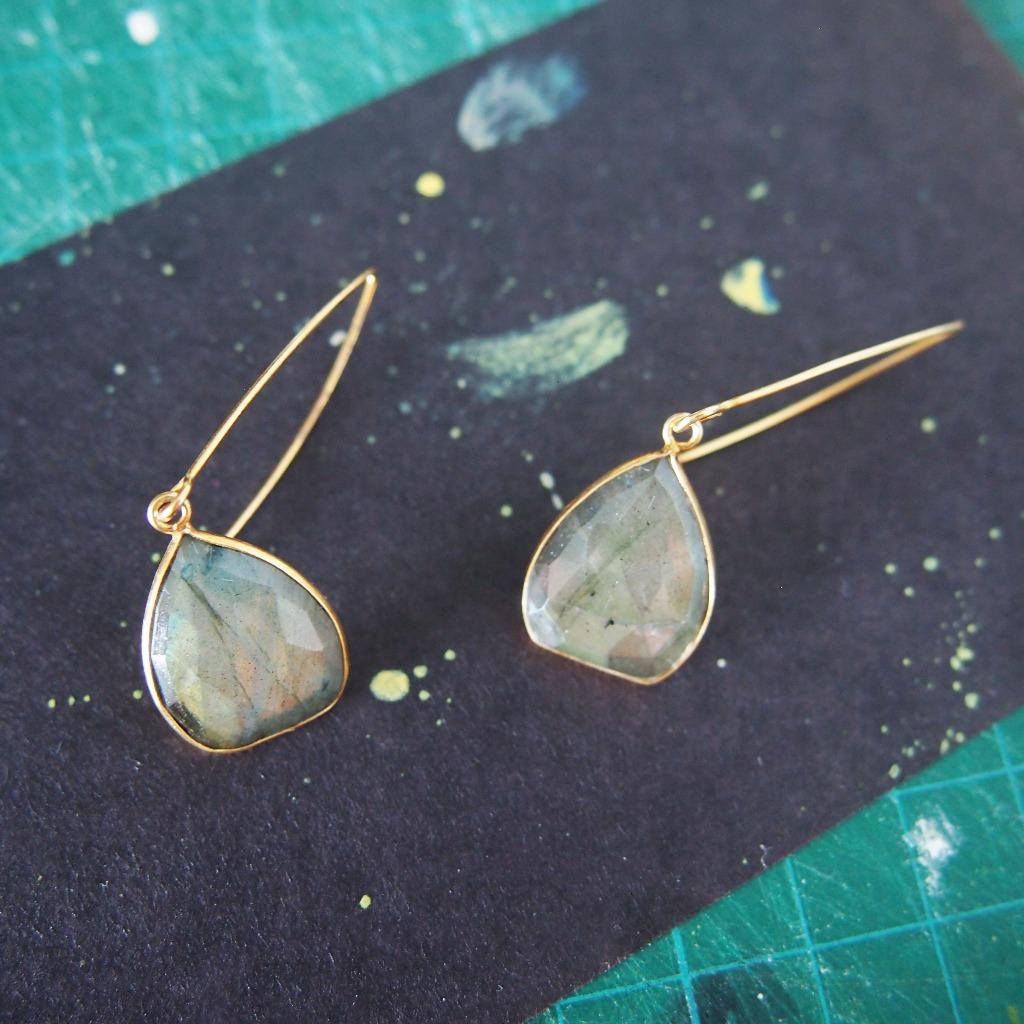 免郵優惠:獨特天然拉長石【靈感的月亮】耳環   18K鍍純銀