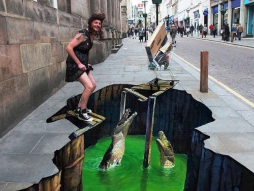 3D街頭藝術讓城市陷入錯覺中
