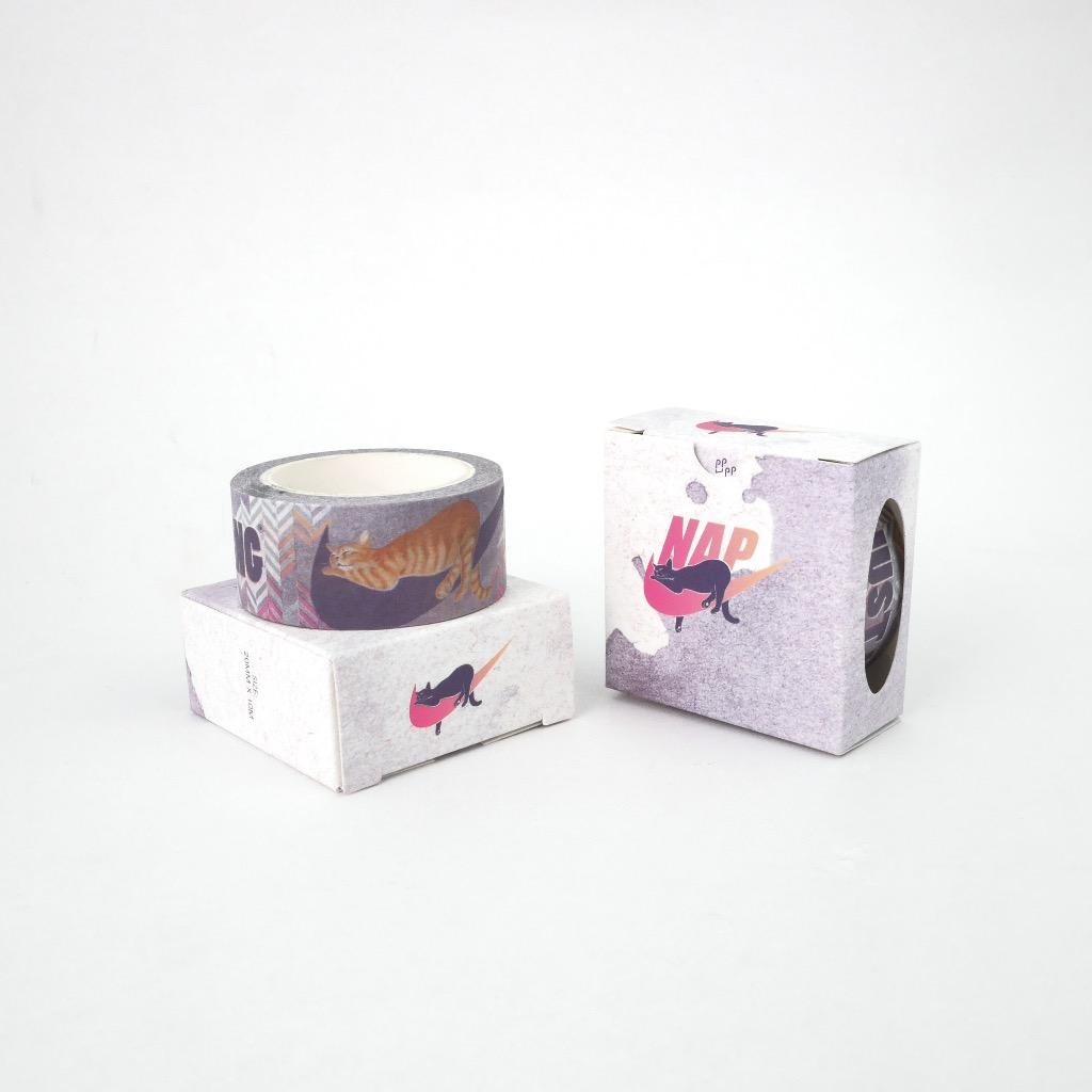 貓 紙膠帶 和紙膠帶 貓奴牌【不運動牌 NAP 淺睡】
