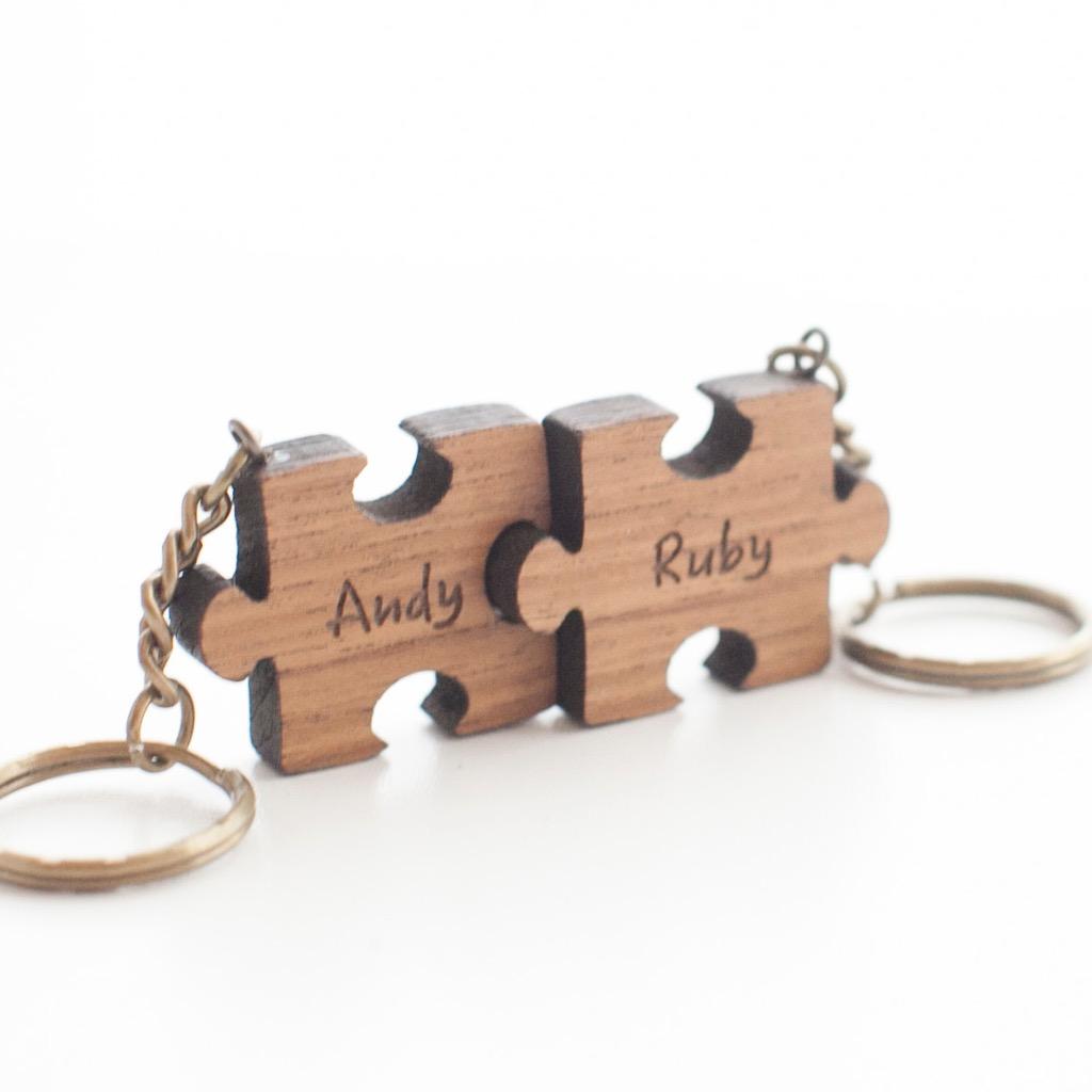 情人節客製化姓名禮物原木柚木拼圖鑰匙圈組