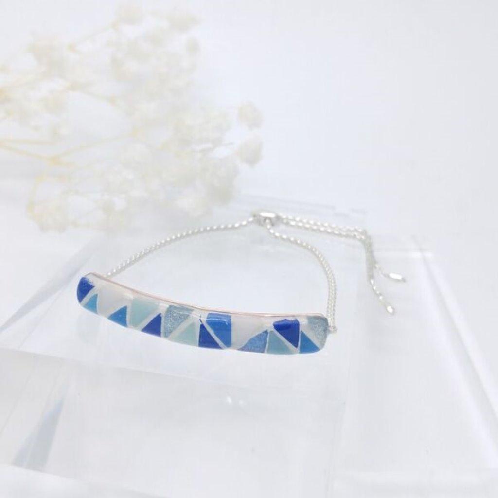 馬賽克925純銀球形滑扣手鏈 (藍)