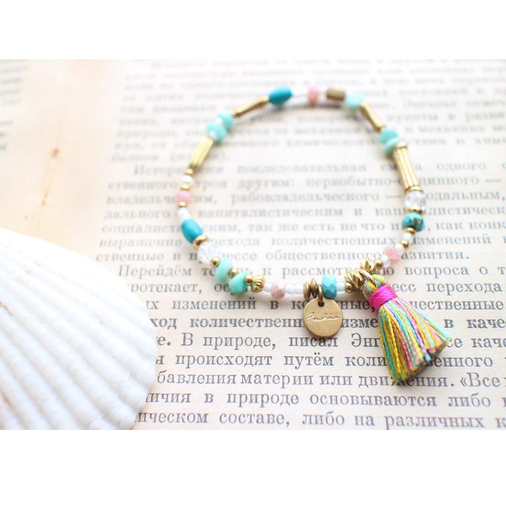 Fuchia-甜蜜宇宙-繽紛夏-天然石流蘇黃銅手環