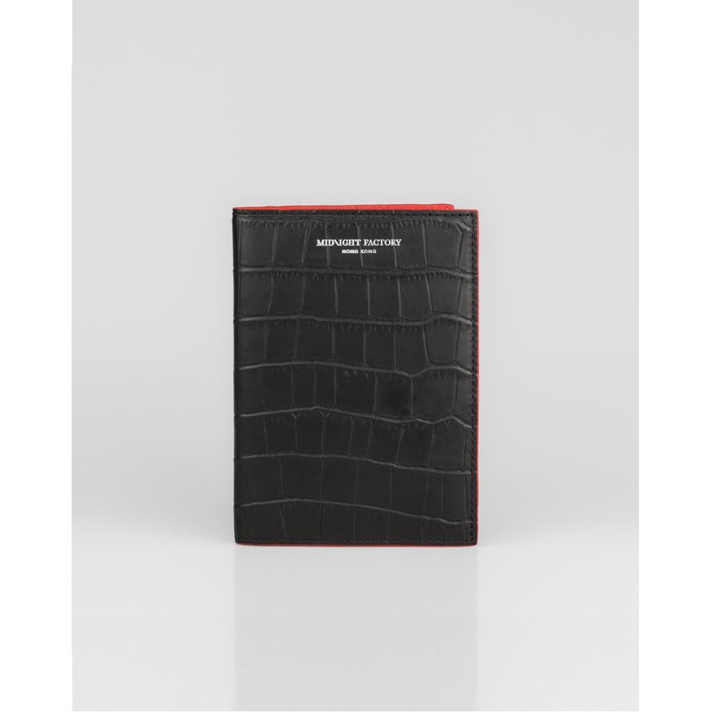 黑色鱷魚紋護照夾