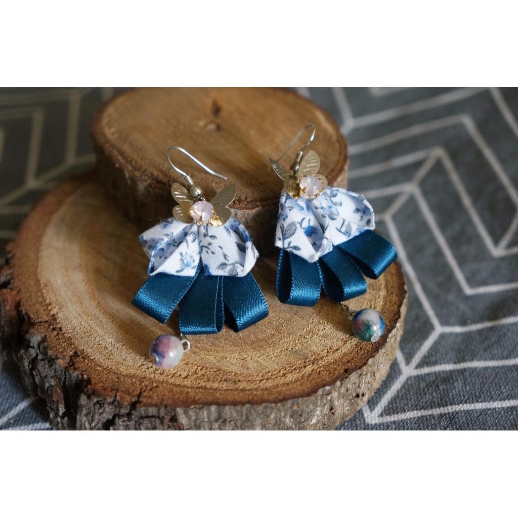 布藝系列 §【深藍夜夢】棉布。緞帶。天然石。布藝耳環