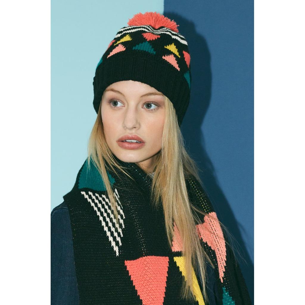 新品-英國 Miss PomPom  黑色三角圖形毛帽