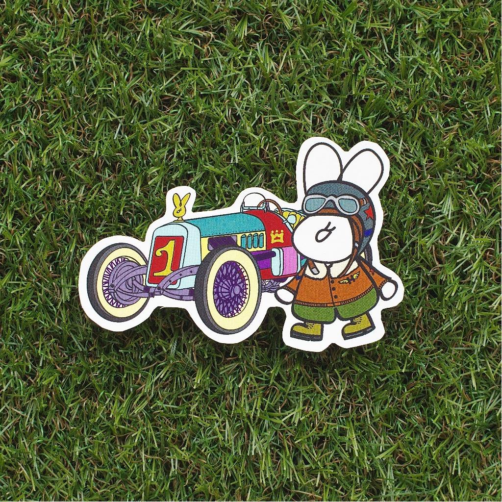 Fuzzy Family 造形系列貼紙 - 古董車與車手