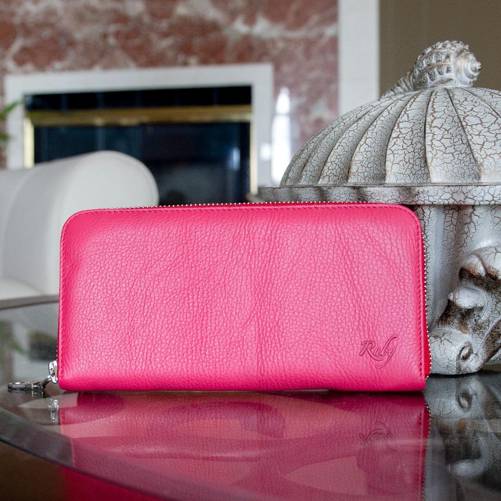 粉紅泡泡 長夾/真皮皮夾/拉鍊大容量/雙層卡位/牛皮皮包