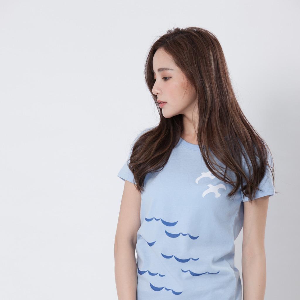 海鷗短袖合身女T海藍色