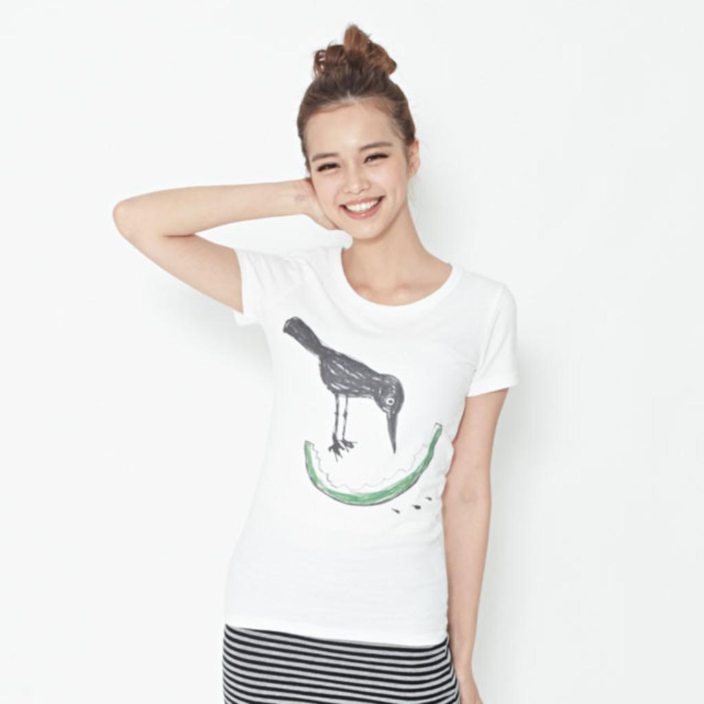 小鳥吃西瓜蜜桃棉白T