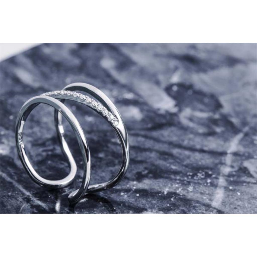 18K金 多層次雙環狀戒指