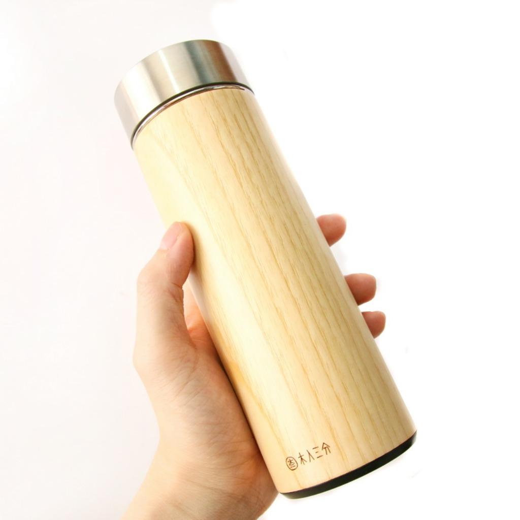汋飲保溫瓶。栓木 330ML 保溫、保冷12H