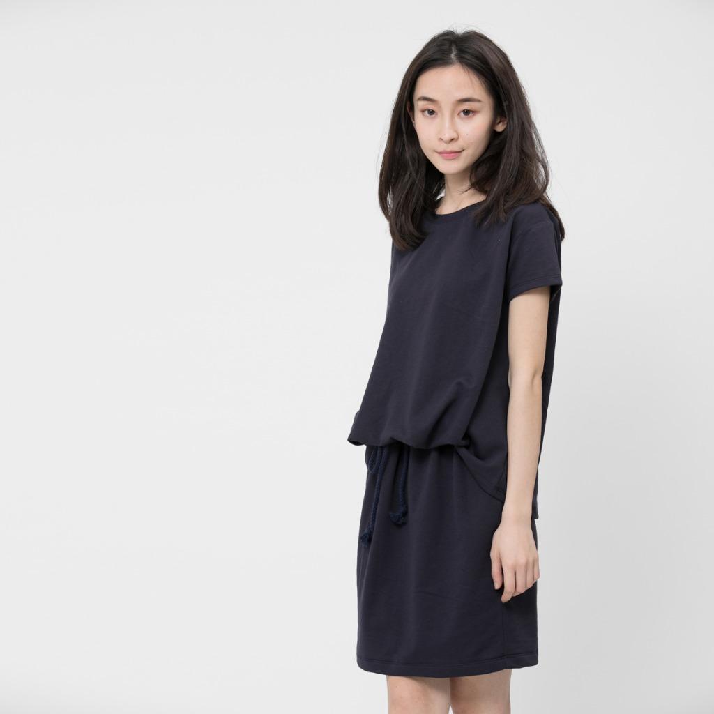法國小毛圈衣裙洋裝/深藍