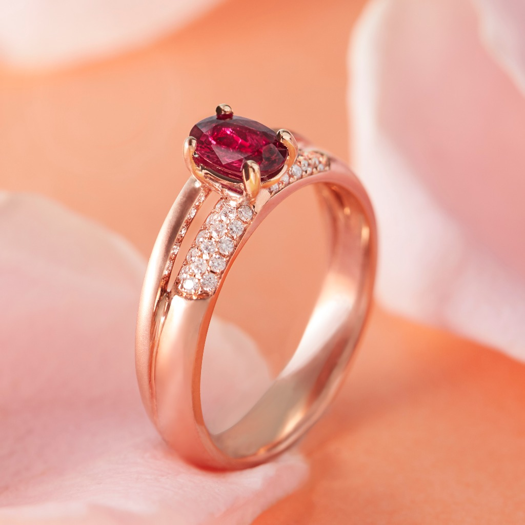 18K玫瑰金 - Romance熱戀紅寶戒指