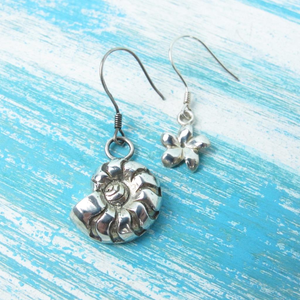【Diving silver】925銀海洋潛水銀飾--鸚鵡螺耳環