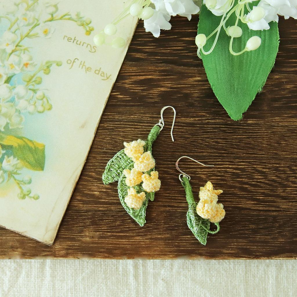 鈴蘭耳環 黃色 3朵花 鉤針編織  雨花系列 可改耳夾