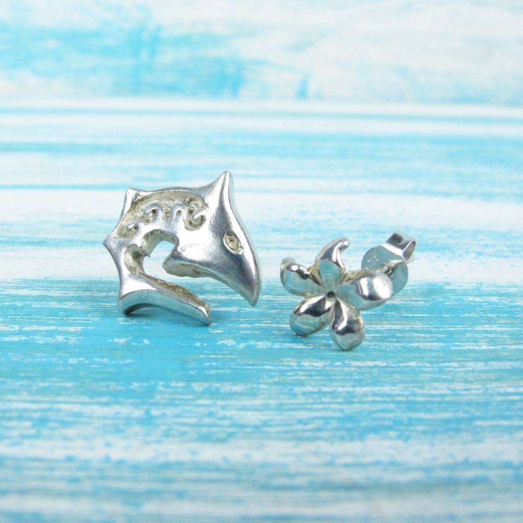 【Diving silver】925銀海洋潛水銀飾--圖騰小鯊魚耳環