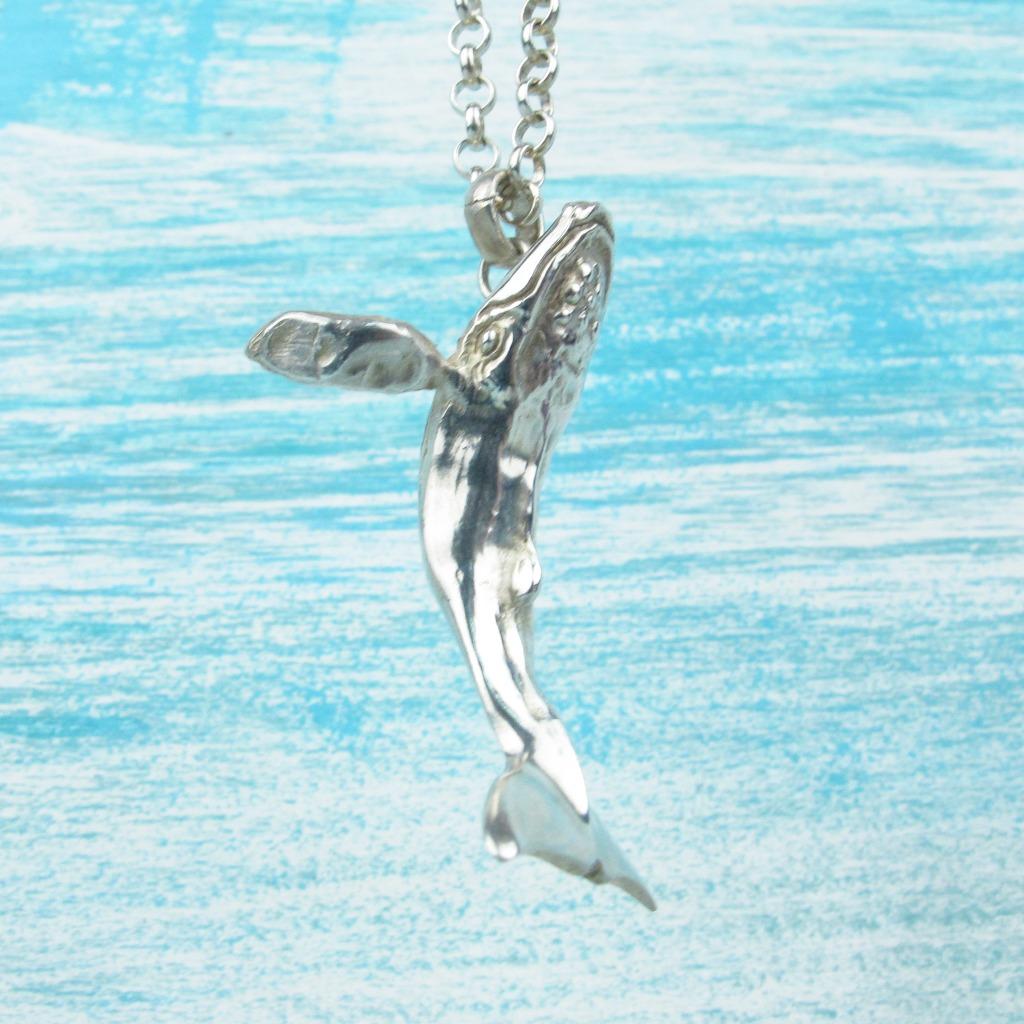 【Diving silver】925銀海洋潛水銀飾--立體大翅鯨墜飾