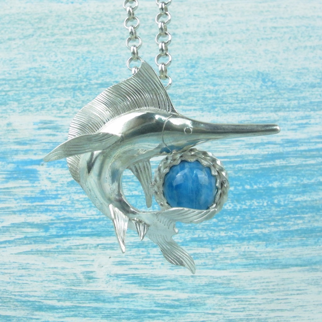 【Diving silver】925銀海洋潛水銀飾--磷灰石旗魚墜飾