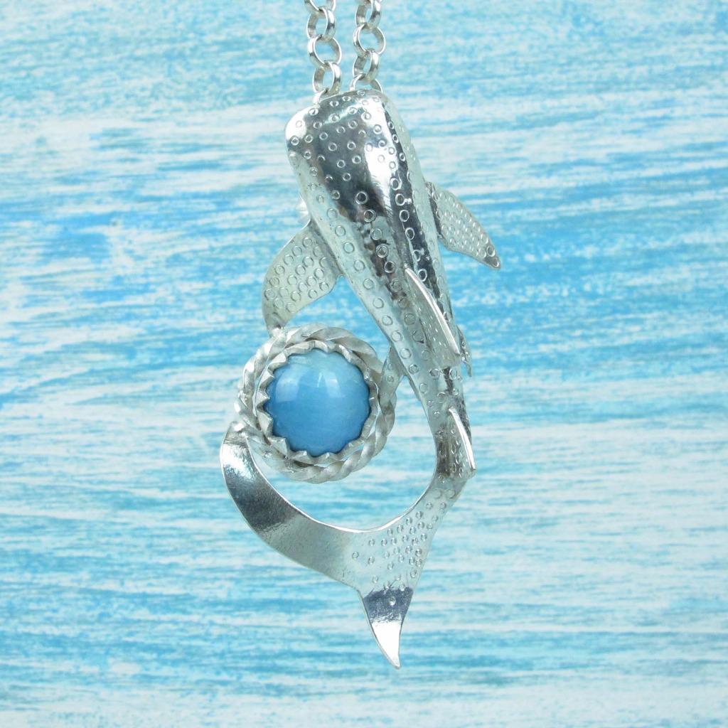 【Diving silver】925銀海洋潛水銀飾--磷灰石鯨鯊墜飾