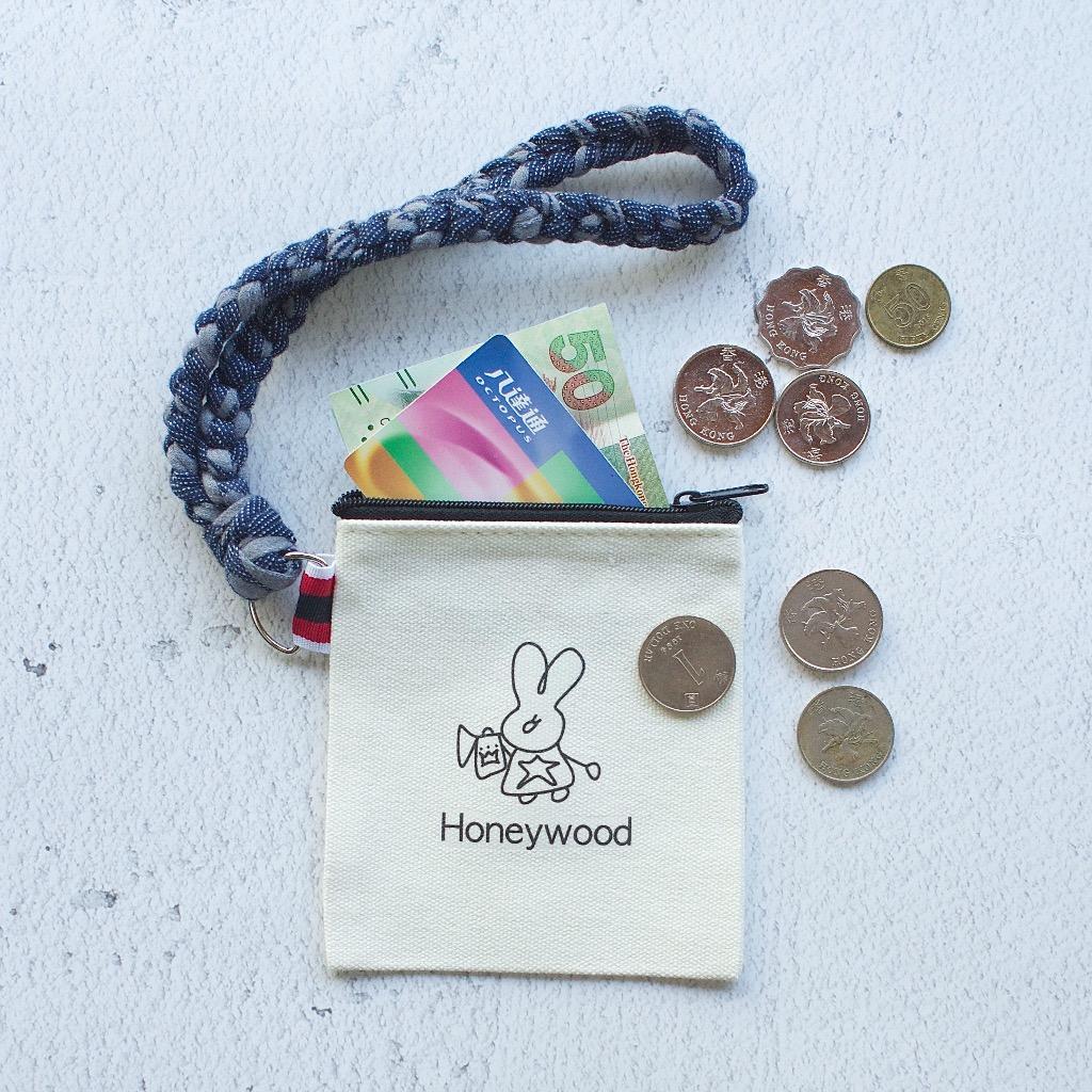 牛仔藍 x 灰  零錢包 手工編織手帶