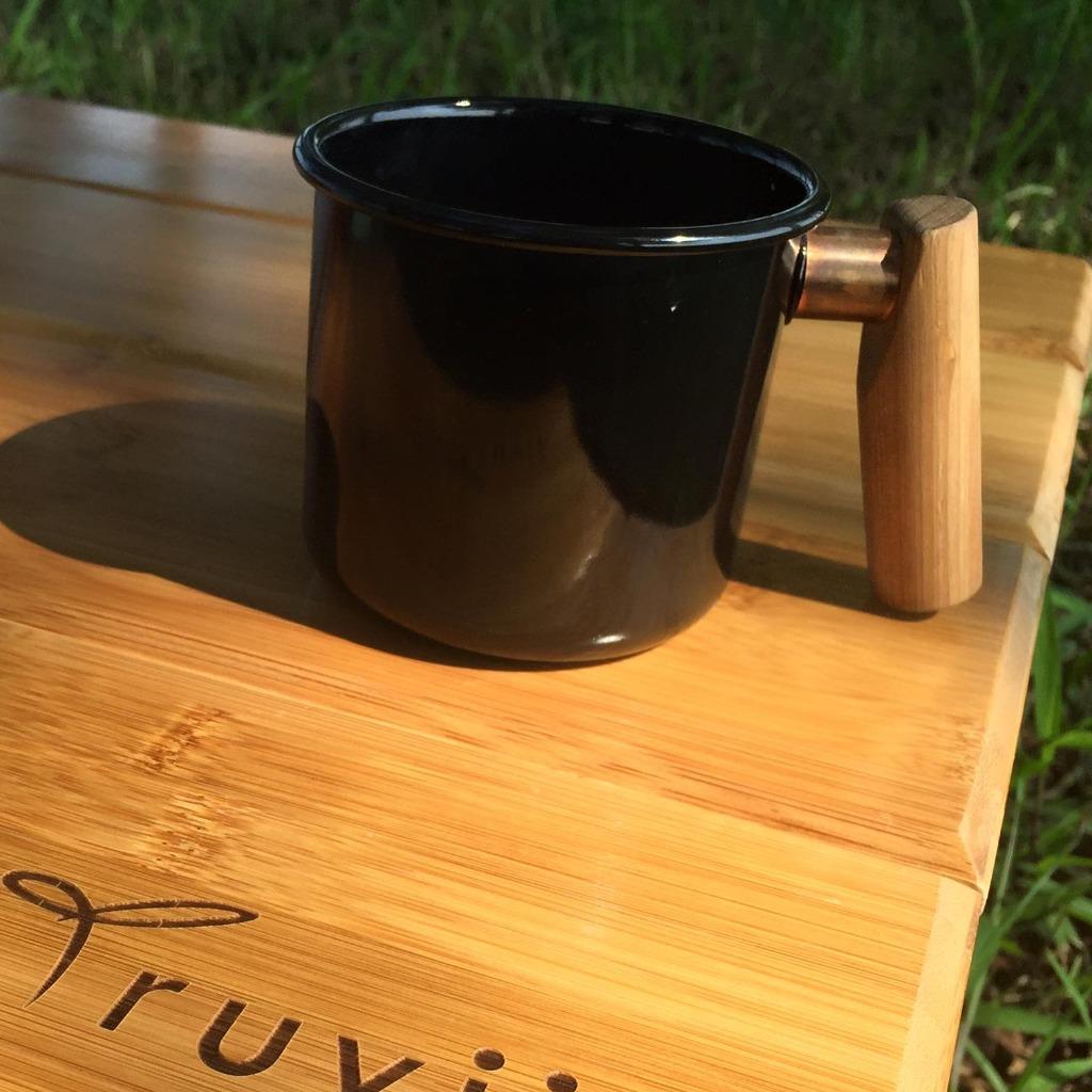 Truvii 手工木柄琺瑯杯 (經典黑 - 400ml)