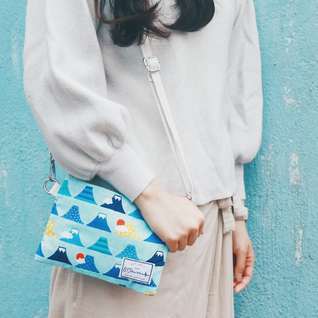 淺藍彩色富士山 兩用雜物袋    815a.m