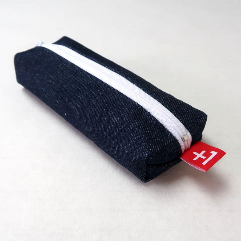 Plus 1 深藍單寧四方筆袋 Indigo Denim Square Pencil Case