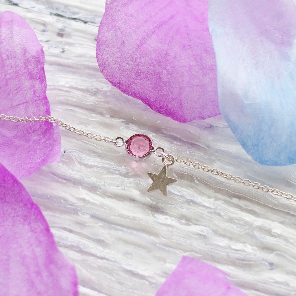 施華洛世奇粉紅水晶環 搖擺星手鍊 禮物訂製