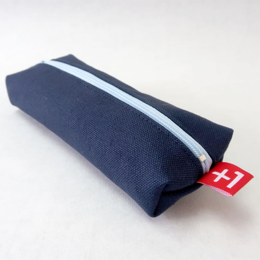 Plus 1 寶藍色帆布四方筆袋 Royal Blue Canvas Square Pencil Case