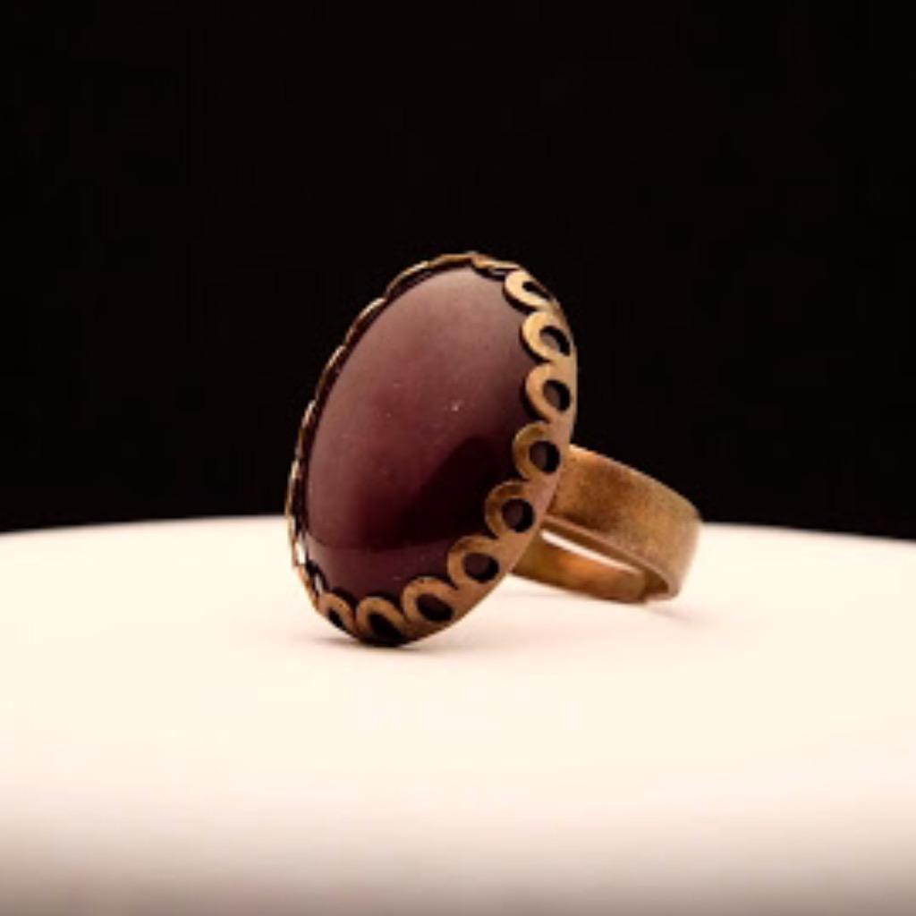 [W Bracciale] 天然石指環:橢圓形 深紅